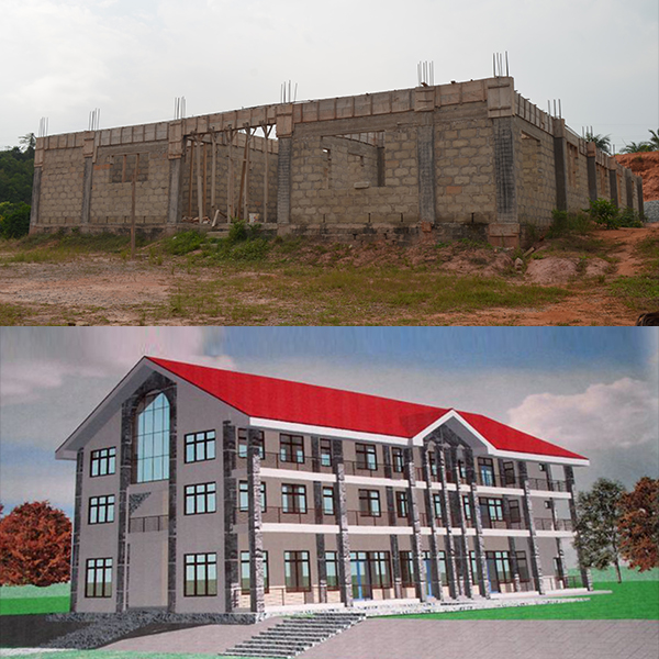 Construction progress and architectural rendering