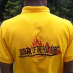 Student in flaming arrow shirt